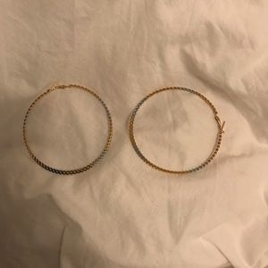 Gold and silver twisted hoop earrings